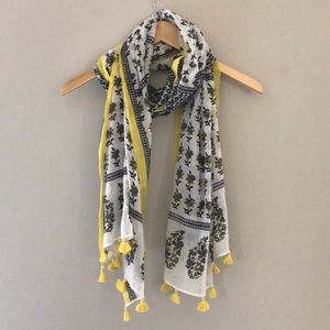 Navy and Yellow Summer Scarf with Pom Poms